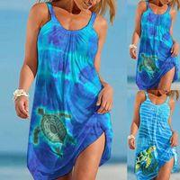 Casual Dresses Dress Sets Women Cartoon Sea Turtle Printed Beach Sleeveless Short Tank Bohemian Ropa Mujer Verano 2021