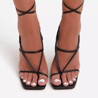 Sandals Summer Cross Tied Boots For Women Outdoor High Heels Shoes Ladies Peep Toe Narrow Band Pumps Plus Size 35-42 TWS1029