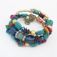 Beaded, Strands Imitation Natural Stone Multi-layer Winding Shell Gravel Mixed Geometric Pendant Elastic Bead String Bracelet