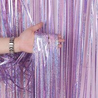 Party Decoration 1x1m Laser Color Foil Fringe Glitter Rain Curtains Birthday Wedding Pography Background Supplies