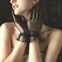 Luvas Esportivas 1 Pares Mulheres Lace Dedo Completo Short Tulle Etiqueta Stretchy Lotus Leaf Mittens Preto