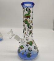20cm 8 인치 프리미엄 블루 팁 및 하단 애니메이션 테마 개구리 물 담뱃대 물 파이프 봉 유리 봉 14mm 다운 시스템 및 그릇 2 in 1 사용 가능