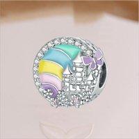 20 pçs / lote aoduola esmalte strass bead arco-íris liga metal grande buraco para jóias fazendo bracelete diy atacado a granel