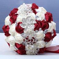 Fiori decorativi di lusso splendido bouquet da sposa bouquet da sposa Ortensia elegante perla perla sposa damigella d'onore in cristallo scintillante CCF7625