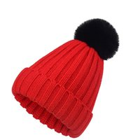 Beanie Skull Caps Knitted Cap Autumn And Winter Solid Color Kids Parents Outdoor Windbreak Covered Core Yarn Hat With Faux Fur Pom Ball
