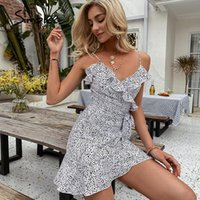 Holiday Mini 2021 A-line Women Dress Summer Casual Ruffle V-neck Sling Dresses Fashion Simplee Asymmetrical Leopard