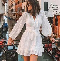 Vestidos casuales Duturados Mujeres Vestido blanco 2021 Lace Sexy Summer Para Profundo V Elegante Fiesta Lantern Menseve Mini