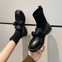 Kurze stiefel frauen britische stil kleine lederschuhe strickgemastische elastische mittlere rohr dünne socken