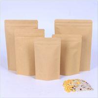 Bolsas de aluminio de aluminio marrón Bolsas de paquete sellable de calor SELLABLE SELLABLE PUSH POUCH KRAFT PAPEL DE ALIMENTACIÓN Almacenamiento de alimentos Bolsa de envasado con tear Notch DBC BH3648