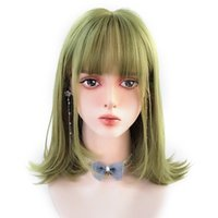 Perucas sintéticas Houyan Cosplay Curto Bob Reta Cauda Cauda Enrolado Verde Ombro Ombro Wig Natural Fluffy Bone