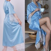 Wraps & Jackets Elegant Blue Satin Silk Bridal Bathrobes Dresses Women Long Lace Maternity Dress Prom Gown Po Shoot Robe Evening Gowns