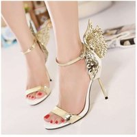2021 Sophia Vampire Diaries female fantasy butterfly wing high heel sandals gold silver wedding shoes size 35 to 40 High-end fashion