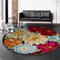 3D 꽃 인쇄 라운드 카펫 거실에 대 한 부드러운 카펫 홈 장식 2200 v2에 대 한 안티 슬립 러그 의자 바닥 매트
