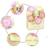 50 PZ Wedding Candy Box Gold Butterfly Events Forniture per feste Confezione regalo Bomboniere Decorazione di cerimonia nuziale di lusso Carta laser Car Box HWD6081