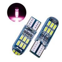 50 unids / lot rosa bulbo de silicona T10 W5W 4014 15SMD LED CANBUS ERROR LIBRES DE COCHES 168 194 2825 Lámparas de liquidación Luces de placa 12V