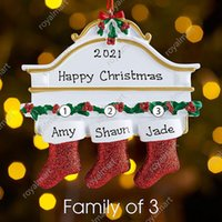 Personalized Resin Stocking Socks Family of 2 3 4 5 6 7 8 Christmas Tree Ornament Creative Decorations Pendants Dhl Free Delivery