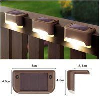 Solar Deck lights Outdoor Fence garden Pathway Wall Light Waterproof Railing stair Step Lamp In Stock