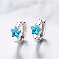 Hoop & Huggie 925 Sterling Silver Hoops Earrings For Women Embellished With Crystals From Blue Star Fashion Party Jewelry Gift