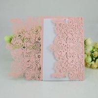 Tarjetas de felicitación 10 unids Invitaciones de boda blancas Papel de perla Papel Floral Láser de corte Sobres