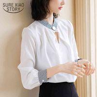 Moda Womens Tops e Blusas Chiffon Shirt White Office Work Wear Lady Manga Longa Mulheres S 2497 50 210512