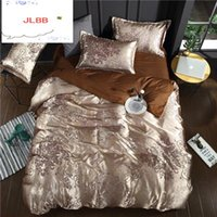 Bedding Sets 2021 Noble Satin Silk 4 Pcs Set,Home Textile King Size Bed Set,bedclothes,duvet Cover Flat Sheet Pillowcases Wholesale