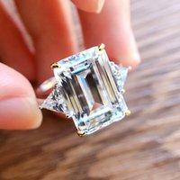 Luxury Designer Vecalon Elegant Promise s925 Silver Rings Emerald cut long Diamond Fairy temperament wedding 10 * 14mm ring