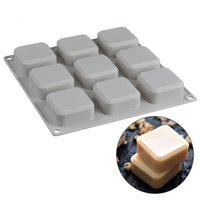 Moldes de silicona hechos a mano 9-Cavidad Molde Safe Bakeware Cuadrado Molde de jabón Herramientas para hornear Herramientas para hornear para pasteles Electrodomésticos DHA5276