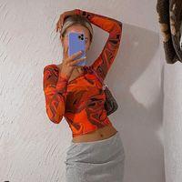 Women's T-Shirt Zuzanny Tie Dye Long Sleeve T Shirts Women Y2K Tops Sexy Cut Out Orange Vintage Aesthetic Graphic Harajuku Tee Shirt Femme 9