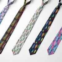 Bunte Feder bedruckte Krawatten für Männer 8 cm Slim Mode coole Business Krawatten Festival Party Hochzeit Hemd Zubehör Bogen
