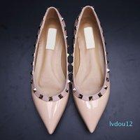 Designer- Women shoes genuine leather v stud ballerina flats blue black nude red yellow rose pink fashion women flat dress shoe