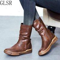 Boots GLSR Mid Calf Plus Размер 35-43 Zapatos Mujer Zipper Кожаная обувь Женщина Военная Плоская каблука Мотоцикл Зимний ботинок