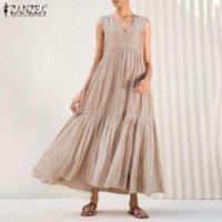 보헤미안 솔리프 프릴 드레스 여성 여름 Sundress 2021 잔존 캐주얼 민소매 탱크 Vestidos 여성 V 넥 겉옷 플러스 사이즈 드레스