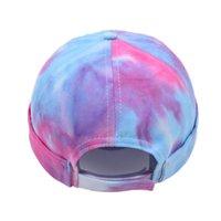 넥타이 염료 Ponytai Skullcap Ming Dynasty Cap 6 스타일 중공 롤 트럭 모자 Summer Sun Caps 성인 Sea LLA854