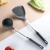 Utensili da cucina in silicone Turners Spatola zuppa cucchiaio in acciaio inox maniglia resistente al calore Pan Turner Shovel Scoop Strumenti da cucina FWF6559