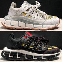 Luxo Trigreca Sneakers Mens desginter Sapatos Mulheres Couro Barocco Impressão Lateral Greca Confortável Sapatilha Ao Ar Livre Calçados Casuais Qualidade Com Caixa 305