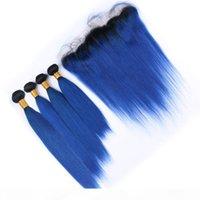 Dritto malese # 1b Blue Ombre Weaves Human Hair 4 Bundles with frontal Dark Blue Blue Ombre Estensioni dei capelli vergini con chiusura frontale in pizzo