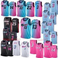 Dwyane 3 Wade Jimmy 22 Butler Jersey BAM 13 Adebayo Tyler 14 Herro رجل كرة السلة الفانيلة أسود أبيض مخيط الحجم S-XXL