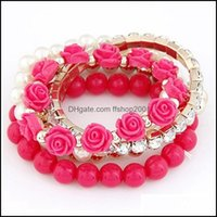 Charm Bracelets Jewelry Mtilayer Elastic Rose Pearl Fashion Exquisite Sweet Joker Bracelet For Women Girls Jewelry Gift Drop Delivery 2021 5