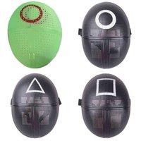 Rote grüne Farbe Tintenfischspiel Maske Halloween Cosplay Requisiten Customes Glühen in der dunklen Nacht leuchtende Gesichtsmasken gruselige koreanische TV-Headwear Kinderspielzeug G09LPBG