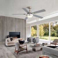 US Azionalo Ventilatore da soffitto da 52 pollici con luce e remota - reversibile, dimmerabile, regolabile a velocità regolabile - stile moderno, ETL elencato KBS-5207