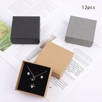 12pcs Brown Retro Kraft Jewelry Box Ring Necklace Bracelets Earring Gift Cardboard Paper Packaging Boxes With Sponge Inside Wrap