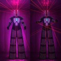 LED Robot Costume led Clothes Stilts Walker Costume LED Suit Costume Helmet Laser Gloves