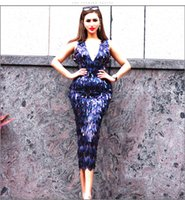 Party Dresses 2021 Tight Bag Buttocks Sequin Nightclub Party Over Knee Fashion Slim Dress