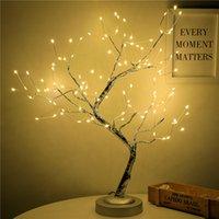 108 LED USB 3D 테이블 램프 구리 와이어 크리스마스 화재 트리 야간 조명 집 휴일 침실 실내 어린이 바 장식 요정 빛