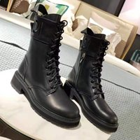 Woman boots genuine leather flat bottom zipper lace-up mid-tube locomotive Martin boot