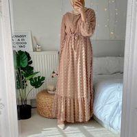 Dresses Siskakia Effen 3d Pompon Maxi Long Jurk for Women Case o Nek Full Mouw Muslim Duabi Turkey Qtar Oman Arab Clothing