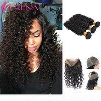 360 кружевной лобной замыкания с пучками Сырые малайзийские пакеты волос с закрытием глубокой волны вьющиеся волосы 360 фронтальной полосы с пучками