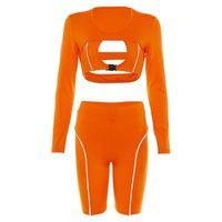Bahar T Gömlek Breakfuls Şort 2 Adet Suit Hollow Yansıtıcı Ekleme Spor Playsuits Set Kadınlar Için Yoga Eğitim Giyim Kiti 39 9SXA E19