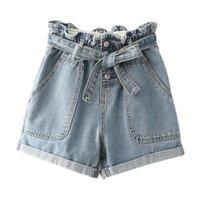 2020 Damen Denim Shorts Summer Casual Lose Elastic High Taille Pin Schnalle Ripping Denim Shorts Hot Hosen Plus Größe