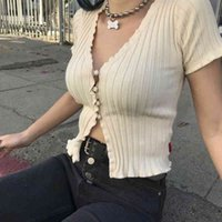Women Fashion Short-Sleeve Ruffles Cardigans Sweaters Knits Tees With Single Breasted Big elastic Knitted Crop Tops